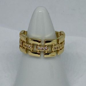 Gold plated crystal ring link design